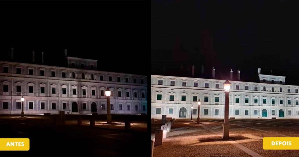 Antes e depois da Iluminação do Paço Ducal de Vila Viçosa com projetores Viena, da Primelux